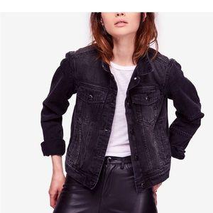Free People black denim jacket